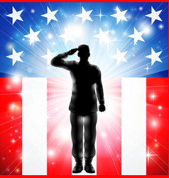us flag military soldier silhouette saluting vector image vector image