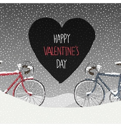 valentines card two bicycles vector image vector image