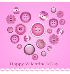 Valentines day card with buttons vector image vector image