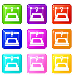 3d printer set 9 vector