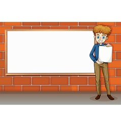 A tall businessman standing beside the empty vector image