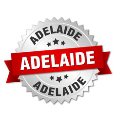 Adelaide round silver badge with red ribbon vector