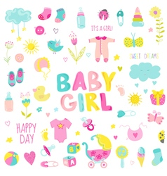 Baby girl design elements - for design and scrap vector