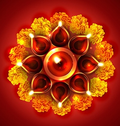 Beautiful diwali diya on background vector