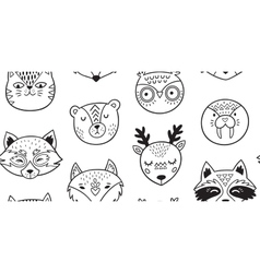 Black and white hand drawn doodle animals seamless vector image