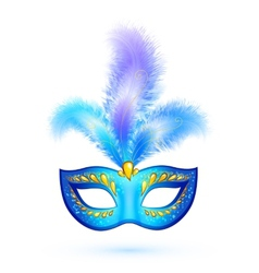 Blue isolated carnival mask with feathers vector image