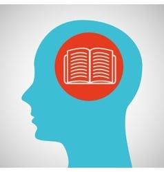 Blue silhouette head open book icon design vector
