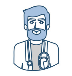 Blue silhouette with half body of bearded doctor vector
