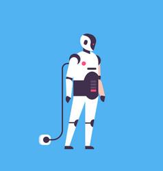 bot helper robot recharging personal assistant vector image