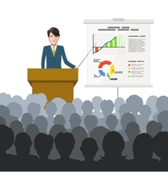 Businessman holds a lecture to an audience vector