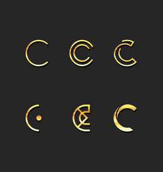 c letter logo template set vector image
