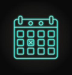 calendar with marked day icon in neon line style vector image