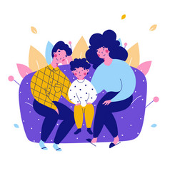 Cartoon character family mom dad home flat vector