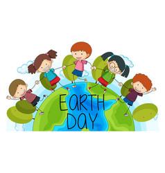 children on earth day logo vector image