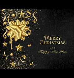 Christmas luxury black background with golden vector