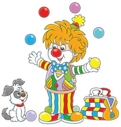 circus clown juggling with color balls vector image