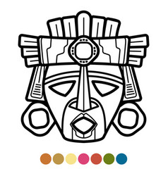 Coloring atzec african mexican mask vector