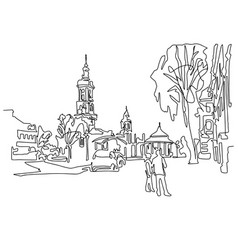 Continuous one line drawing of historical town vector