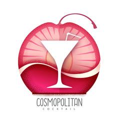 Cosmopolitan cocktail icon grainy texture vector