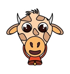 Cow animal farm isolated icon vector