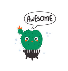 cute cactus for kids with text vector image
