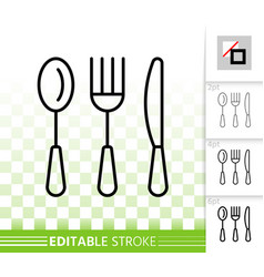 Cutlery simple black line icon vector