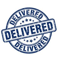 Delivered blue grunge stamp vector