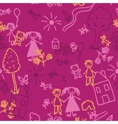 Doodle kids seamless background vector