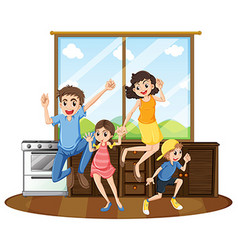 Family happy at home vector