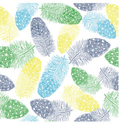 feathers sketch seamless pattern vector image