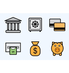 Finance and bank icons - icon set vector image