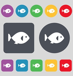Fish icon sign A set of 12 colored buttons Flat vector