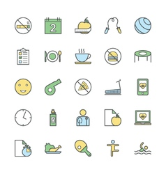 Fitness bold icons 3 vector