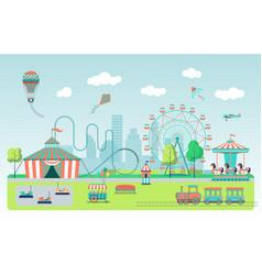 flat amusement park vector image