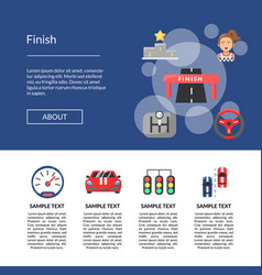 Flat car racing icons landing page template vector