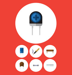 Flat icon electronics set of resistor triode vector