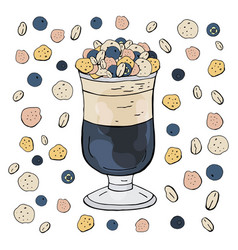 fruit cocktail with blueberry and muesli vector image