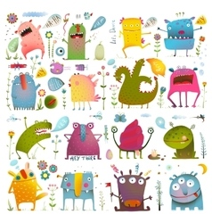 Fun cute cartoon monsters for kids design vector
