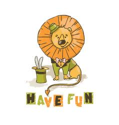 Fun lion cartoon circus savannah animal hand drawn vector