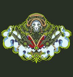 geisha robot mascot logo design vector image