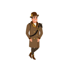 Gentleman in steampunk outfit young man wearing vector