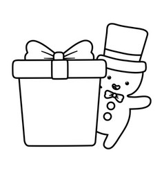 gingerbread man with hat and gift decoration merry vector image