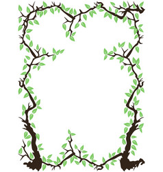 green tree branch leaves frame vector image