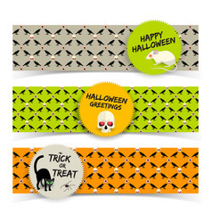 halloween greeting horizontal banners vector image
