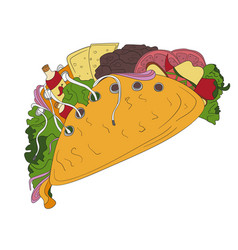 Hand drawn tacos icon badge fast food vector