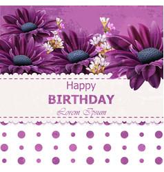 happy birthday daisy flowers card floral vector image