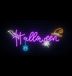 happy halloween neon concept banner bright vector image