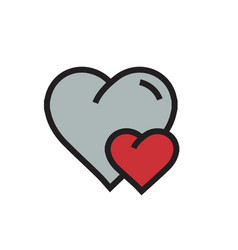 Heart mini icon cartoon red color vector
