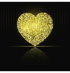 Heart on black background Gold glitter vector