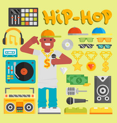 Hip hop man musician with microphone vector